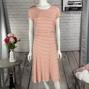 DOWNEAST Orange & Cream Dress Size: Small